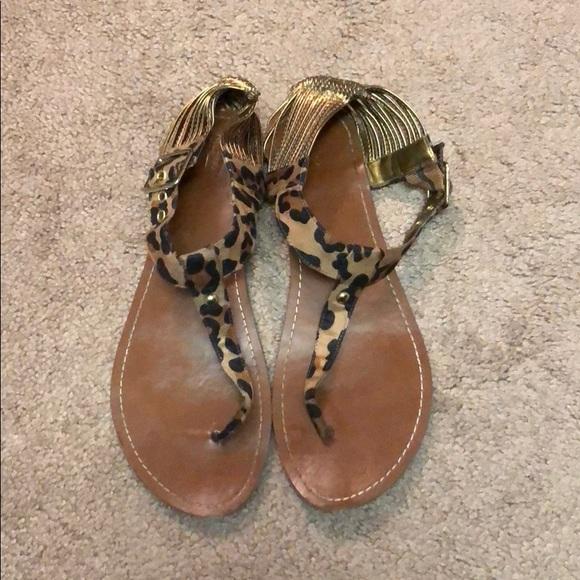 8a8ca8fa1f60b6 Cheetah strappy sandals (used) size 10. M 5bbfea479fe48645d09a1e40